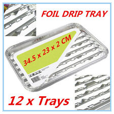 12pk Foil Roasting BBQ Baking Grill Tray Drip Tray w/h Oil Dripping Aperture FW