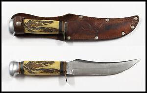 Vintage SABRE GERMANY German hunting knife stag handle leather sheath NICE LOOK