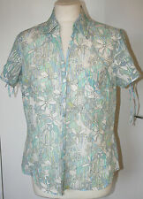 Marks & Spencer UK16 EU44 new turquoise mix floral blouse with short sleeves