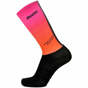 Santini Redux Fortuna Aero Cycling Socks in Orange - Size XS/S
