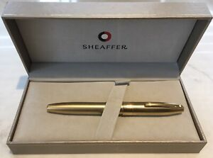 Cased Sheaffer Brushed Gold Imperial Fountain Pen Fine Nib