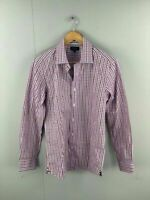 Oxford Mens Pink Blue Brown Check Button Long Sleeve Slim Fit Shirt Size Small