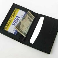 Black Genuine Leather Men's Thin Credit Card Bifold Wallet ID Holder Zip Holder