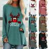Womens Christmas Reindeer Elk Pullover Jumper Baggy Sweater Blouse Top Plus Size
