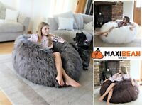 Large Faux Long Fur Bean Bag Chair Mongolian Beanbag Gaming Chair COVER ONLY