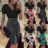 Women Bodycon Floral Print Short Sleeve V-Neck Evening Party Work Office Dress B