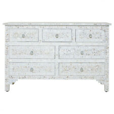 Handmade Mother of Pearl White Floral Chest of Drawer