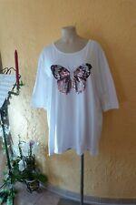 VERSION Tunika Shirt 50 52 L+ weiß Pailletten Schmetterling Stretch LAGENLOOK