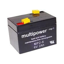 Multipower Blei Gel Akku 6V 2Ah 2,0Ah MP2-6 Bleiakku Accu Aku Battery Bateria