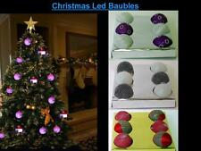 NEW SET OF 6 FLICKERING LED CHRISTMAS BAUBLES SET *CHRISTMAS TREE DECORATIONS*