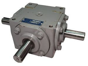 40 HP Right Angle Bevel Gearbox With 3 Keyed Shafts 1:1
