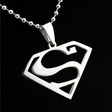 Unisex's Men Superman Silver Stainless Steel Pendant Necklace Chain Jewelry Gift