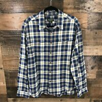 Eddie Bauer Men's Blue And Brown Plaid Long Sleeve Flannel Button Up Shirt