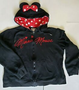 Disney Park Ladies Women's Minnie Mouse Black Zip Up Hoodie with ears Size XXL