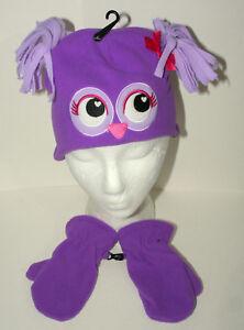 Cute Fuzzy Owl Winter Cap & Gloves New Toddler & Infant Purple Mitten Hat Set