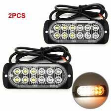 2PCS 12-24V 12LED Car Truck Emergency Strobe Warning Flashing Light Universal