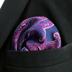 QH15 Paisley Blue Pink Handkerchief Mens Hanky Big Size Hankies Pocket Square