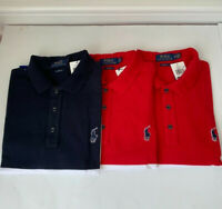NWT Polo Ralph Lauren Stripe Polo Shirt Rubber Pony Classic Fit L,XL Navy, Red