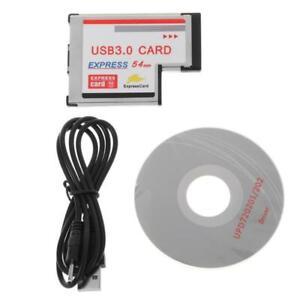 2 Dual Port USB 3.0 HUB Express Card ExpressCard Hidden 54mm Adapter for Laptop