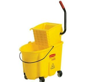 Wavebrake 35 Qt. Plastic Mop Bucket With Wringer Rubbermaid Commercial Products
