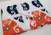 "Williams Sonoma Cotton Multi Color Ikat Print Dinner Table Runner 16"" X 108"" New"