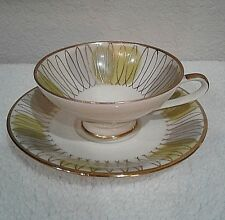 VINTAGE ELFENBEIN PORZELLAN CUP/ SAUCER MID-CENT. GREEN and GOLD BAVARIA GERMANY
