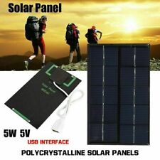 5W 5V USB Solar Panel Charger USB Port Cellphone Tablet Use Travel Portable NEW
