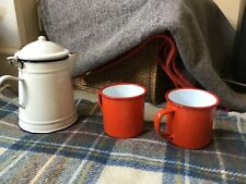 2 falcon Red Vintage style Mugs cups Enamel  Picnic Camping VW Camper-van Toast