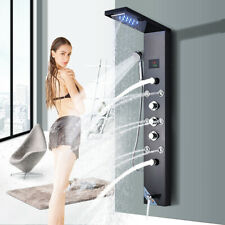 Brushed Black Shower Panel Tower System LED Rain Waterfall Massage Body Jet