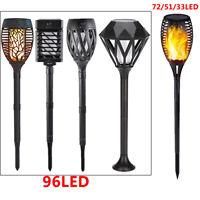 96LED Solar Lights Flickering Flame Lamp Waterproof Garden Yard Path Decor Light