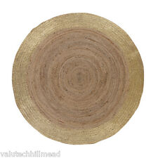 Ian Snow Gold Foil and Natural Round Jute Rug, 150cm