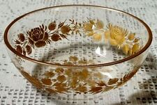 ANTIQUE VICTORIAN FINE GLASS FINGER BOWL WITH GILD INLAY ETCHING - A LITTLE WEAR