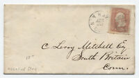 1860s New Haven CT #65 cover negative star of david fancy cancel [y3220]