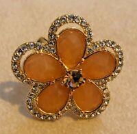 Joan Rivers Shimmering Orange Petal Pave' Ring - Size 7