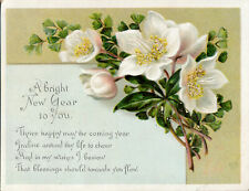 1893 Victorian New Year Card, Christmas Roses, Poetry