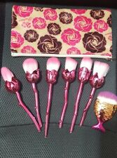 6Pc Rose Flower Pink Makeup brushes in mesh & Fish scale Brush with zip case