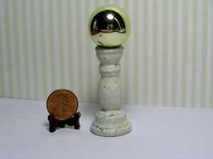 Miniature Dollhouse Gold Gazing Ball on Light Speckled Textured  Base