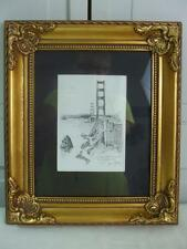 Pencil Drawing San Francisco Golden Gate Bridge Gold Frame Signed Don Davey 1977