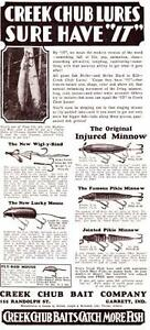 1929 Vintage ad Creek Chub Baits Jointed Pike Minnow Lucky Mouse Wrigly Rind