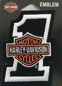 "Harley Davidson Black & White #1 B&S Patch 2 7/8""x 4"" Emblem Vest EMB035063"