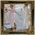 Sorolla Time for a Bathe, Valencia 1909 Wood Framed Canvas Print Repro 19x19