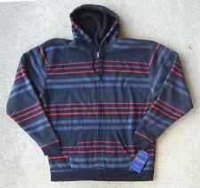 RERUN mens sweater / hoodie size 4X full-zip faux fur black red blue striped NWT