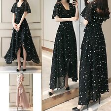 Vestito Lungo con Spacco con Stelle Donna Chiffon Woman Maxi Dress 110182B P