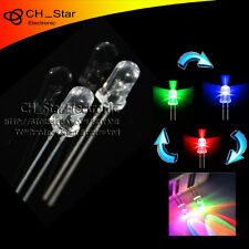 100pcs Water Clear Fast Flash 5mm RGB 2 pin Automatically flashing LED Diodes