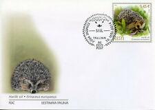 Estonia Fauna Stamps 2014 FDC Hedgehogs Wild Animals Mammals 1v Set