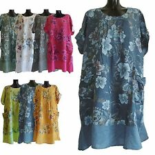 PLUS ONE SIZE LAGENLOOK ITALIAN 100% LINEN SUMMER PARACHUTE BOHO DRESS UK 16-22