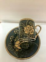 Turkish Arabic Coffee  set  cup and saucer  Black /gold Porcelain /  2.5oz