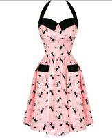 Voodoo Vixen Pink Swing Dress Rockabilly 50s Style Cats Halter Neck Size XL