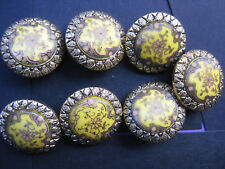 21mm Med Vintage Floral Yellow Centre Fancy Gold Coat Sewing Buttons Set of 7