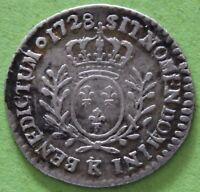 FRANCE LOUIS XV 1/20 ECU AU BRANCHES D'OLIVIER 1728 K